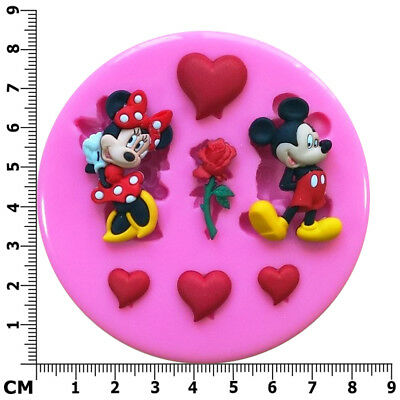 Mickey Mouse Loves Minnie Mouse Hearts Roses Silicone Mould By Fairie Blessings • 6.95£