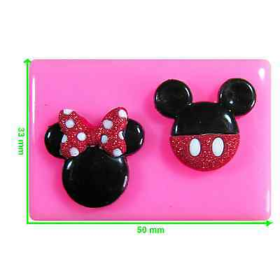 Mickey And Minnie Mouse Face Silicone Mould By Fairie Blessings • 4.50£
