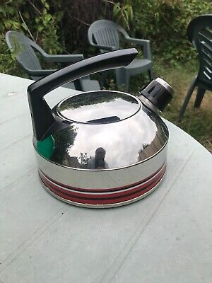 Vintage Retro Stove Top Kettle 50s Or 60s With Whistle, Steel, Silver And Red  • 3.75£