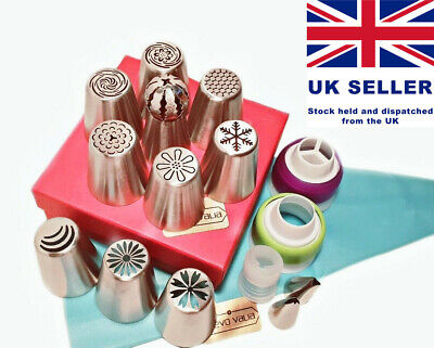 25 Piece Russian Piping Set. 10 Flower / Ball Tips. 2 Leaf Tips. UK Seller. • 9.99£