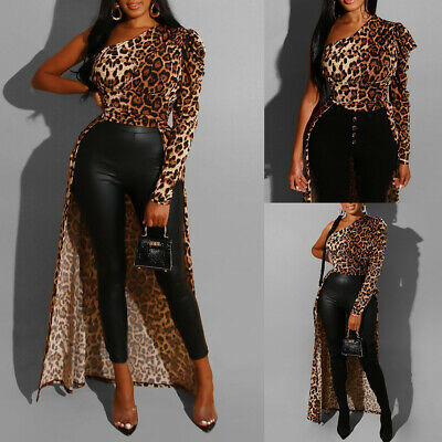 Women Leopard One Shoulder Top High Low Shirt Party Club Asymmetric Blouse Dress • 6.69£