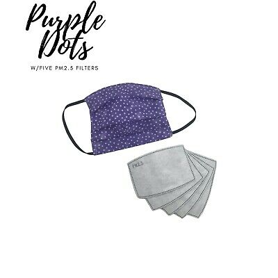 $ CDN14.99 • Buy Cotton Face Mask With 5 - PM2.5 Filters - Canadian Made, - Purple Pokedo Pattern