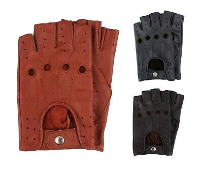 New Retro Real Leather Men Fingerless Driving Cycle Gloves Unlined Chauffeur UK • 7.99£