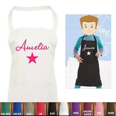 £9.99 • Buy Kids Personalised Apron With Name And Star For Baking Cooking With Pocket