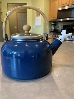 $34.99 • Buy Vintage Blue Enamel Silver Metal Teapot Tea Kettle Wood Handle Rooster Whistler