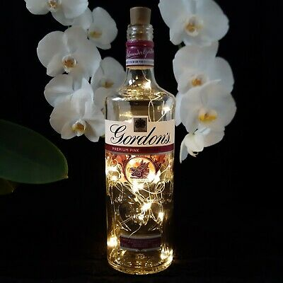 Gin Bottle Lamp/Fairy Lights - Gordon's Pink (Clear) 70cl • 4£