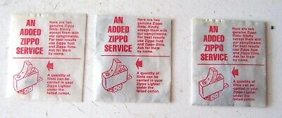 $5 • Buy Three (3) Vintage Complimentary Zippo Cigarette Lighter Flint Packages