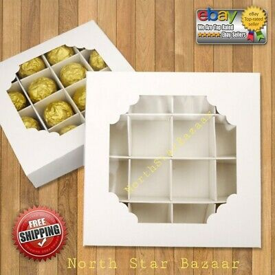 £9.99 • Buy ⭐BEST VALUE⭐Empty WHITE Sweet Boxes With Inserts Dividers Acetate Window Display
