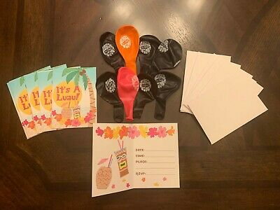Luau Party Invitations 6 W/ Envelopes And 8 Aloha Balloons • 1.42£