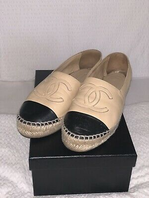 AU500 • Buy Chanel Espadrilles Nude And Black Lamb Skin Size 38 Could Fit 38.5 (wide Fit)