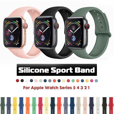$ CDN3.96 • Buy For Apple Watch Series 5 3 4 IWatch 38/40/42/44mm Soft SILICONE Sport Strap Band