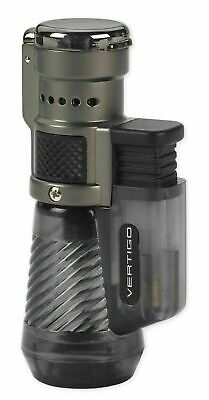 New Vertigo Cyclone Triple Jet Cigar Lighter In Clear Grey / Charcoal • 14.95£