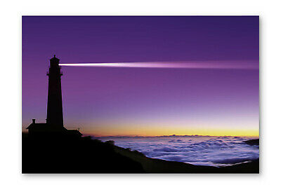 £47.99 • Buy Purple Lighthouse Sunset Beach Box Framed Stretched Canvas Wall Art Print