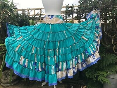 Skirt Pirate Gypsy Boho Hippy Festivals Blue Multi Colour Recycled Sari Flowing • 18.99£