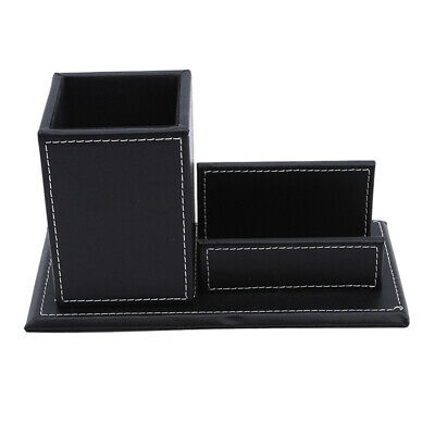 £9.12 • Buy Pu Leather Desk Stationery Organizer Storage Box Pen Card Holder Box IT
