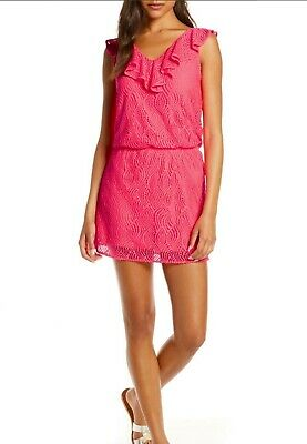 $64.99 • Buy Lilly Pulitzer NWT ALESSA Crab Claw Coral Pink Lace Romper Size L BEST DEAL