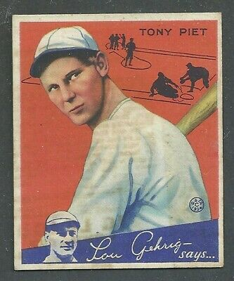 $20 • Buy 1934 Goudey Baseball Card #8 Tony Piet - Oddity/Freak Card