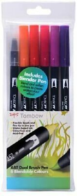 NEW ABT Dual Brush Pen Includes Blender Pen Sunset Colours Pack Of 6 Tombow S A • 18.16£