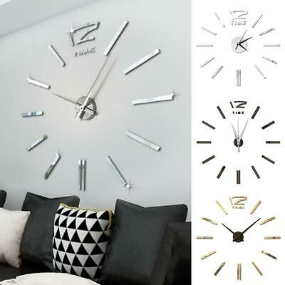 DIY Large Number Wall Clock 3D Mirror Sticker Modern Home Office Decor Art Decal • 4.29£