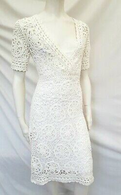 £44.99 • Buy Monsoon Stunning  Crochet Lace Knit Dress Size S 8 10 12 With Underlay