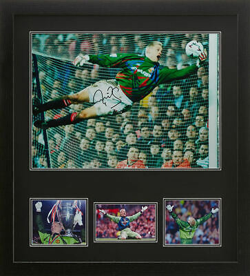 PETER SCHMEICHEL FRAMED SIGNED 16 X20  MANCHESTER UNITED PHOTOGRAPH COA & PROOF • 64.99£