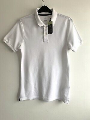 Marks And Spencer Mens Polo Shirt Size S Cotton White Short Sleeve • 3.90£