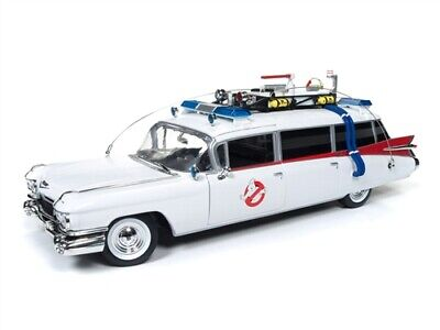 AUTO WORLD AWSS118 1959 CADILLAC GHOSTBUSTERS ECTO 1 Diecast Model & Figure 1:18 • 101.82£