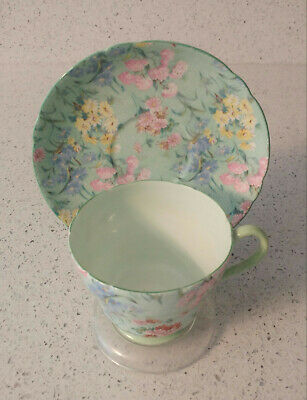 Shelley Cup & Saucer Melody 13453 Mint Green Chintz • 36.57£