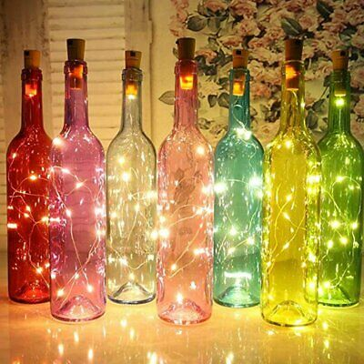 Bright White Wine Bottle Cork Fairy String LED Lights Wedding Party Decor Lamps • 1.99£