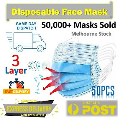 AU11.49 • Buy Disposable Face Mask 3 Layer Mouth Masks Anti Bacterial Protective Filter 50 Pcs