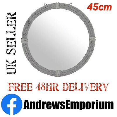 Large Nautical Round Grey Rope Framed Wall Mirror Statement Home Decor 45cm  • 25.50£