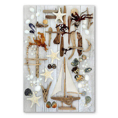 Shabby Chic Seaside Sail Boat Box Framed Stretched Canvas Wall Art Picture • 23.99£