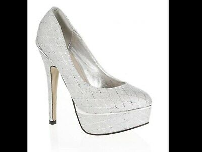 Quiz Silver Diamond Shimmer Shoes Size 7 • 9.99£