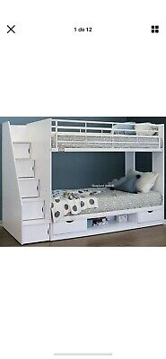 Cameo Deluxe Staircase Bunk Bed - White Or Oak   Storage And Stairs - New Bunks • 380£