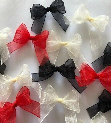 15 Small 3.5cm Red, Black & Cream Organza Bows/Card Making/decorations/ Crafts • 1.80£