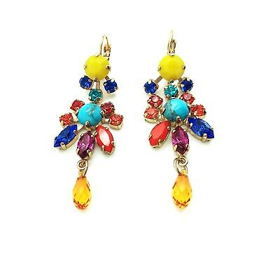£83.54 • Buy Mariana Earrings Exquisite Chandelier Chinese Turquoise Mineral & Multi Color...