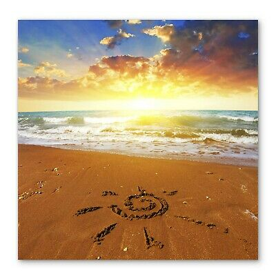 £55.99 • Buy Beach Sunset Sun Sand Box Framed Stretched Canvas Wall Art Square