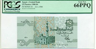 $34.95 • Buy Egypt 1980-84 25 Piastres Bank Note Gem New 66 PPQ PCGS Currency