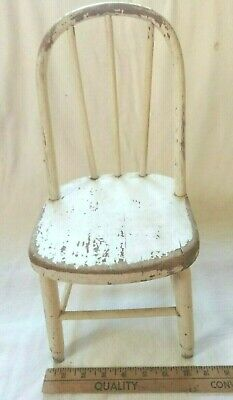 $18 • Buy Vintage Hand Crafted White Wooden Miniature Spindle Chair For Dolls 15 T 50% OFF