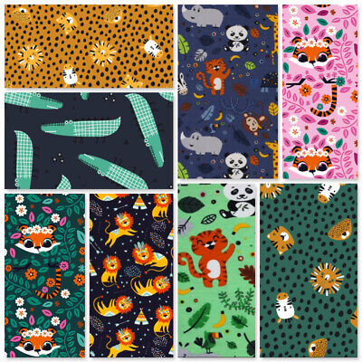 Jersey Fabric Stretch Childrens Pj's Masks Tshirts Leggings Dinos Foxes Hedgehog • 8£