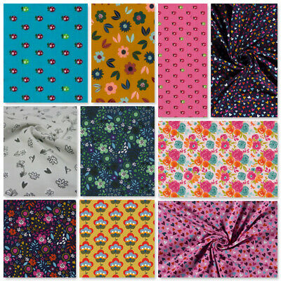 £8.50 • Buy Jersey Fabric Stretch Flowers Strawberry Hearts Pj's Tshirts Lingerie Leggings
