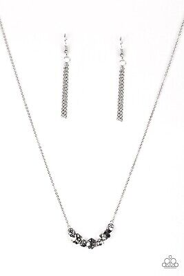 Loaded Dice Silver Dice Shaped Rhinestones Necklace Paparazzi • 3.54£