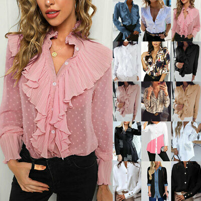 UK Womens Long Sleeve Blouse Button Down OL Shirts Ladies Work Party Casual Tops • 7.32£