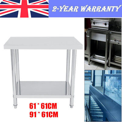 Stainless Steel Commercial Kitchen Food Prep Work Table Shelf Bench Top 61x61xm • 98.29£