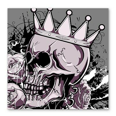 Skull Crown Rose Flowers Box Framed Stretched Canvas Wall Art Square • 31.99£