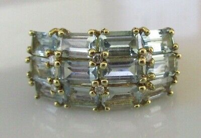 Secondhand Ex QVC 9ct Yellow Gold Multi Topaz Diamond Cluster Ring Size N • 185£