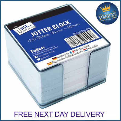 400 Loose Sheets Memo Block Papers Note Office Jotter In Plastic Cube Holder • 3.99£