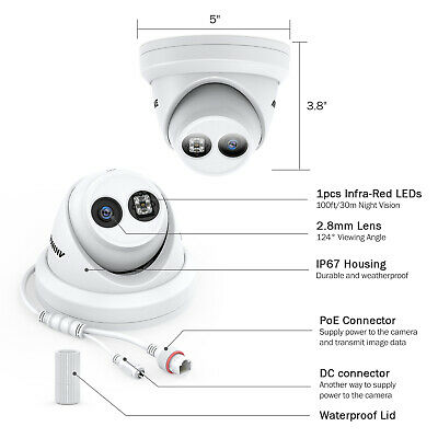 ANNKE 4K 8MP Dome POE CCTV Camera IP67 Network For Home Security POE System UK • 89.99£