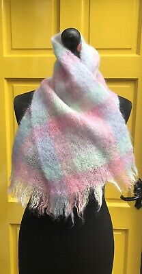 Vintage Mohair Wool Woollen Scarf Pink & Powder Blue Check Plaid 44 X 9.5 Inches • 5£