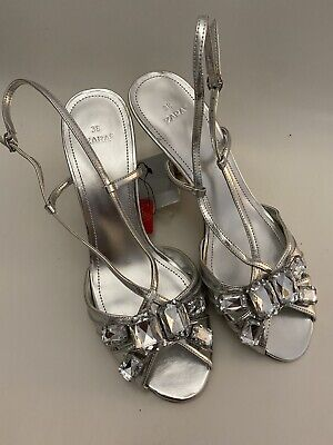 Zara Silver Kitten Heel Diamond Shoes Size UK5 EU38 BNWT • 5£